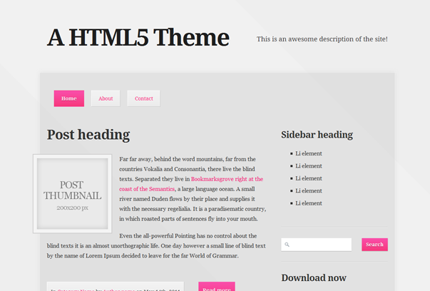 A HTML5 WordPress Tema