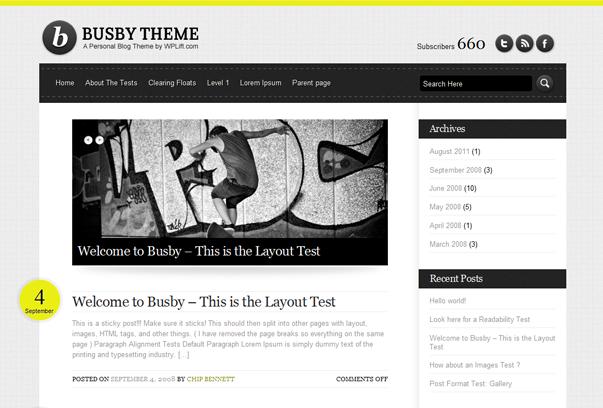 Busby Html5 WordPress Tema ekran görüntüsü