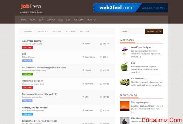 JobPress WordPress Tema ekran görüntüsü