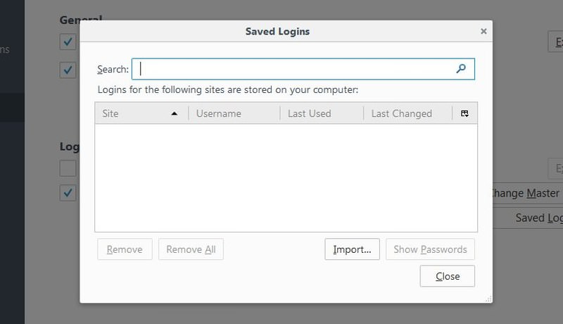 firefox manage password