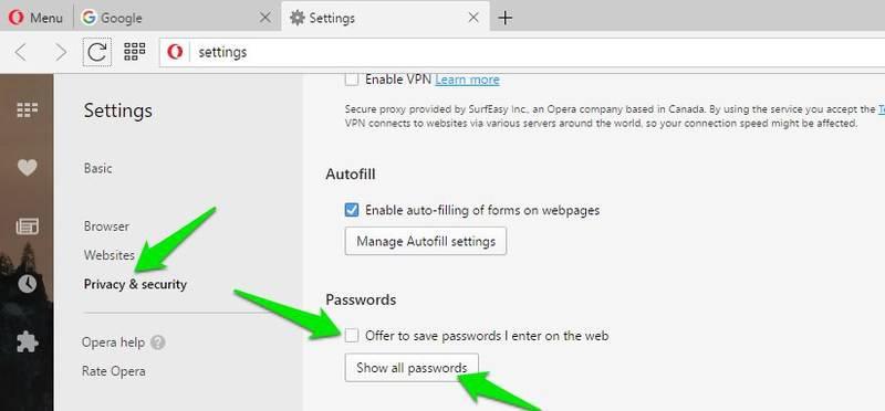 disable save password opera