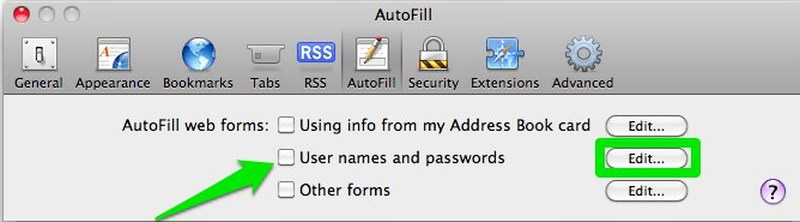 Disable save password safari