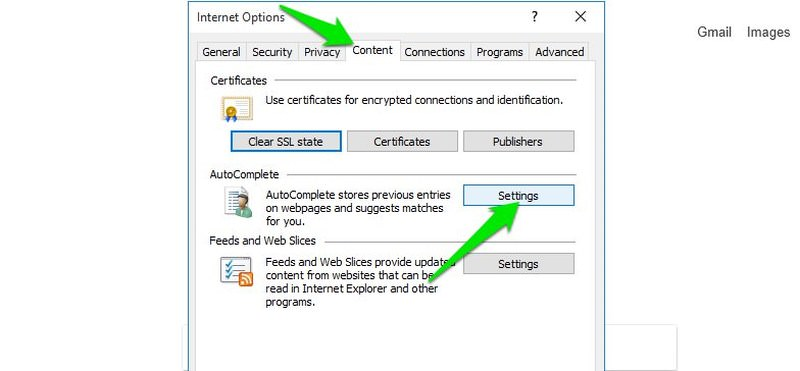 internet explorer auto complete settings