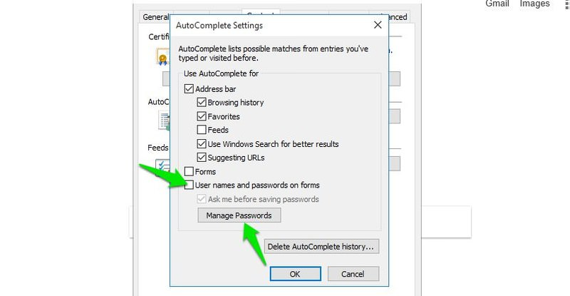 disable save password internet explorer