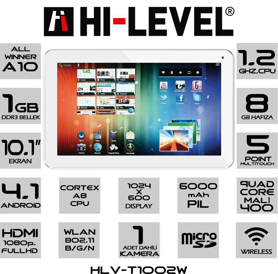 Hi-Level HLV-T1002W 8GB 10.1″ Tablet