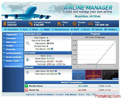 Facebook Airline Manager Oyunu