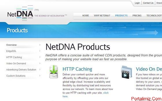 NetDNA Content Delivery Network homepage layout