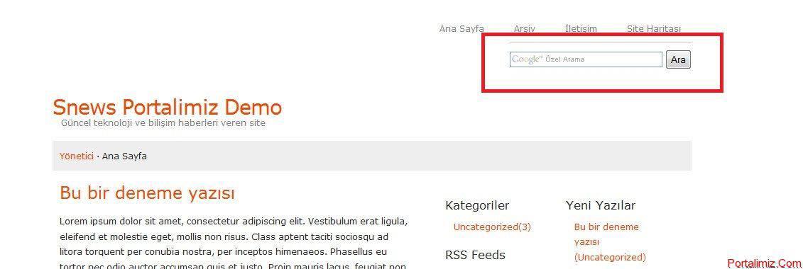 Snews Arama Kutusunu Google Arama İle Değiştirme