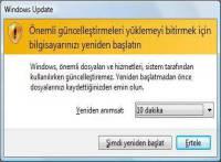 Windows Güncelleme Sonra Yeniden Başlat Uyarısını Kapatma
